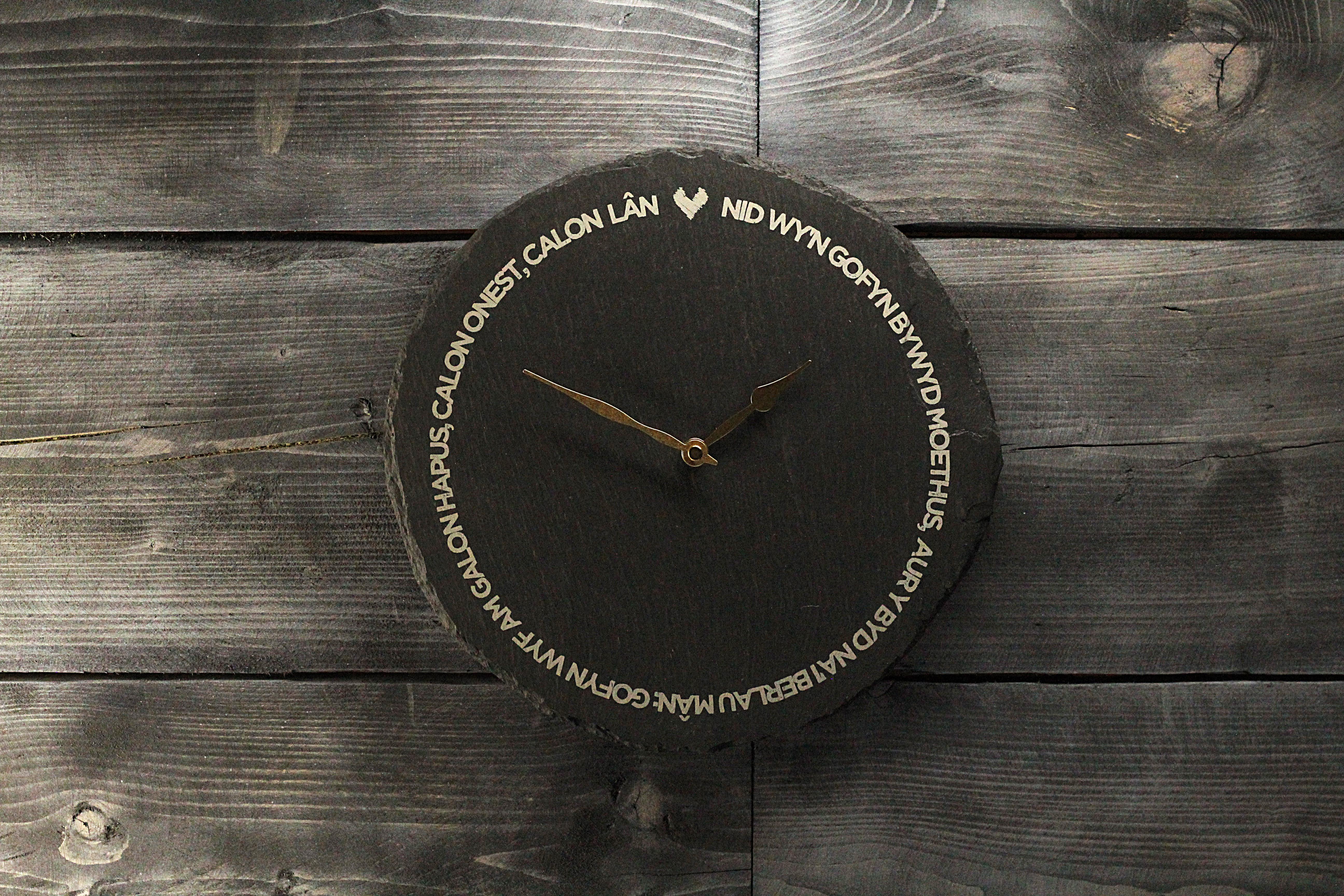 Welsh slate Calon Lan Clock