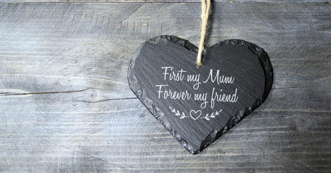 Mother's Day Welsh Slate Heart Gift