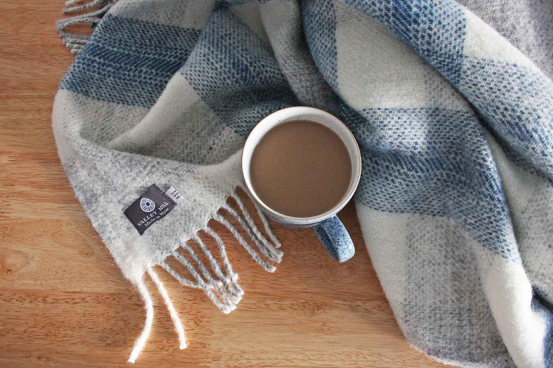 Meadowcheck Ink Welsh Blanket & Denby Studio Blue Mug