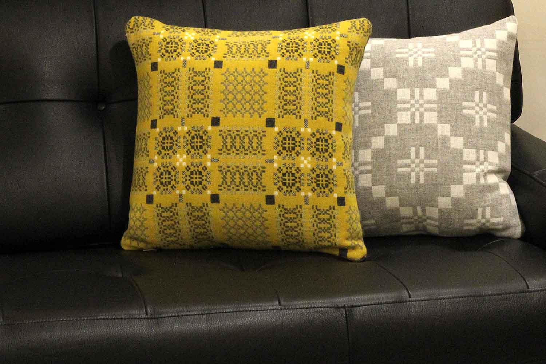 Melin Tregwynt Knot Garden Gorse & St Davids Cross Silver Wool Cushion