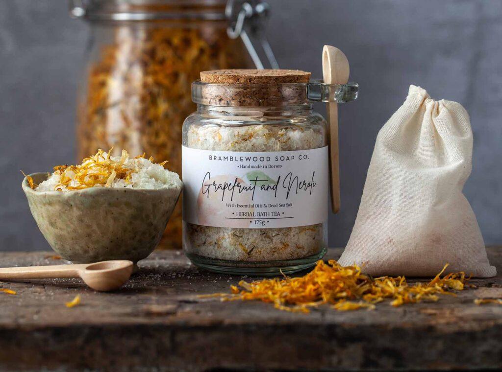 BrambleWood Soap Co. Natural Botanical Herbal Bath Tea Salts