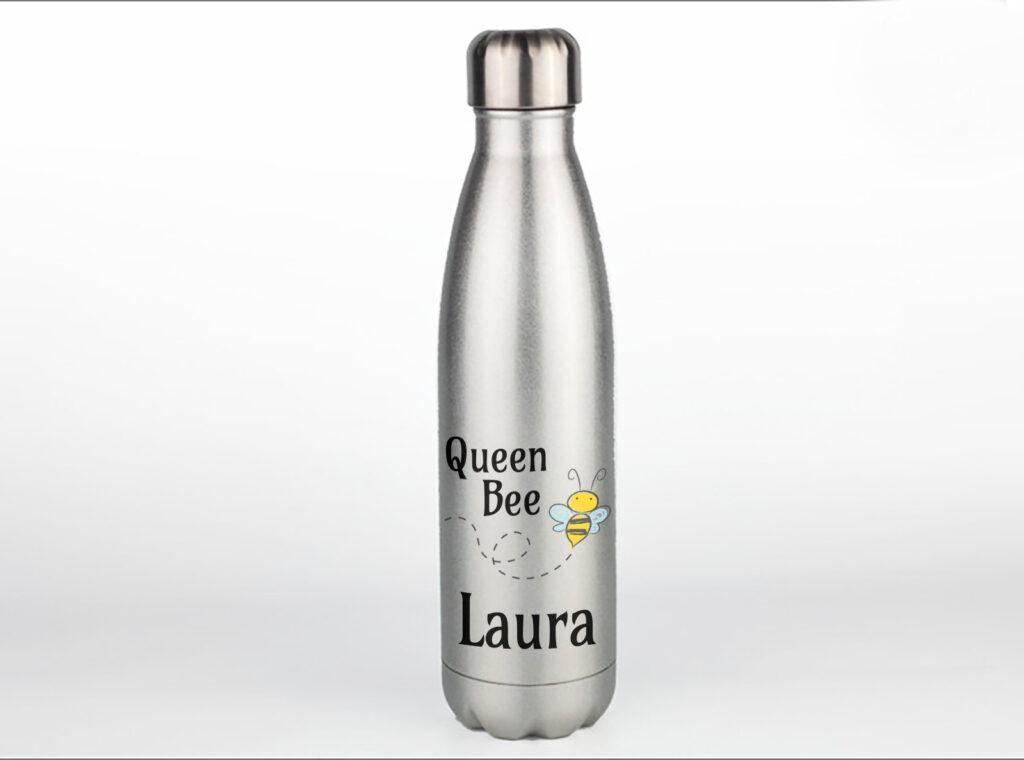 Silver Glitter Personalised Metal Water Bottle