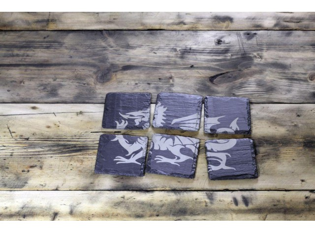 Welsh Slate  Dragon Coasters