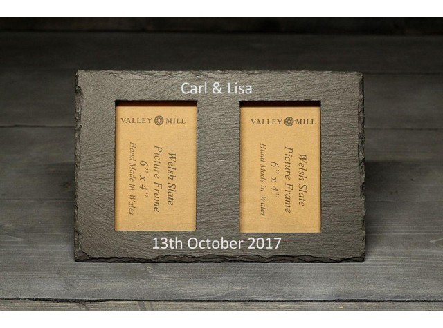 Personalised Welsh Slate double photo frame