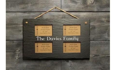 Personalised Welsh Slate quadruple Picture frame