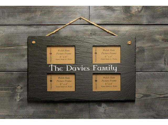 Personalised Welsh Slate quadruple photo frame - Landscape