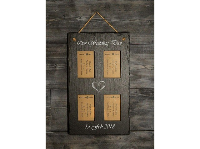 Personalised Welsh Slate quadruple photo frame - Portrait