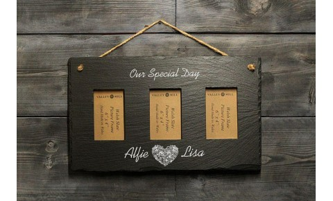 Personalised Welsh Slate triple Picture frame