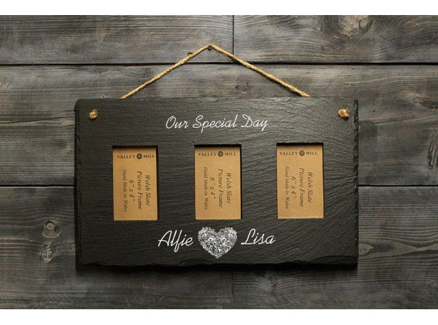 Personalised Welsh Slate triple photo frame - Landscape