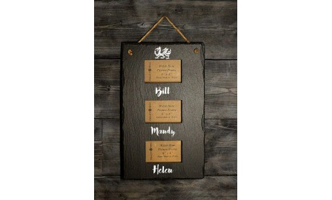 Personalised Welsh Slate triple photo frame - Portrait
