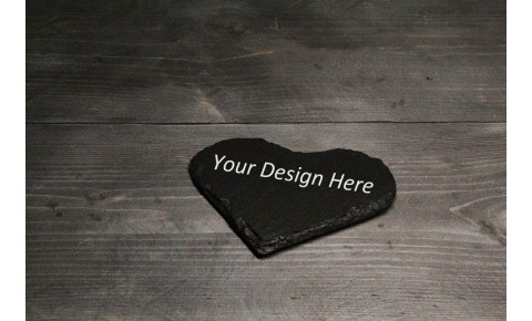 Personalised Welsh slate coaster - Heart
