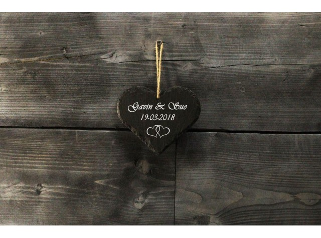 Personalised Welsh  slate heart - Medium