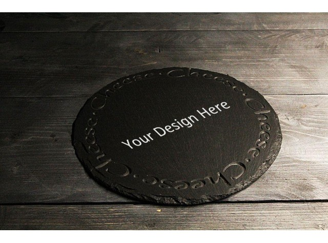 Personalised Welsh slate round Cheese board - Deep engraved 'Cheese'
