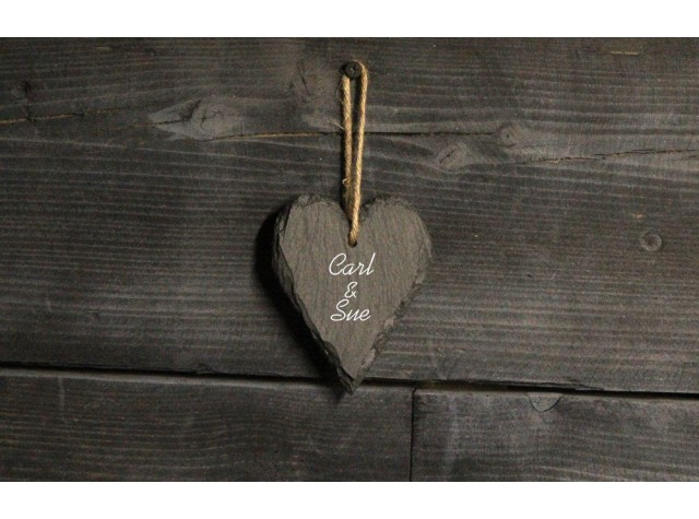 Personalised Welsh slate heart - small