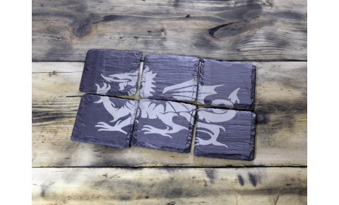 6 Piece Welsh slate coaster set