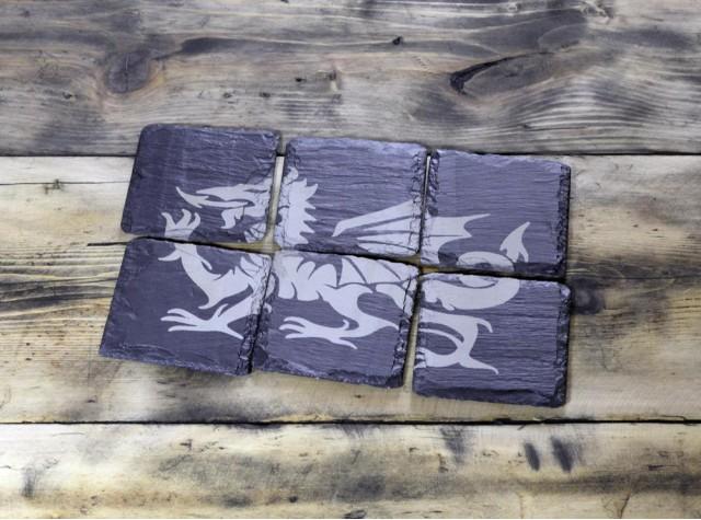 6 Piece Welsh slate coaster set