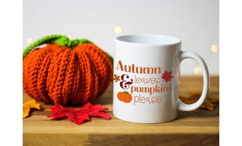 Autumn Leaves & Pumpkins Please Ceramic Mug | Valley Mill
