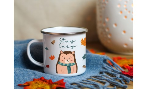 Stay Cosy Hedgehog Enamel Mug | Valley Mill