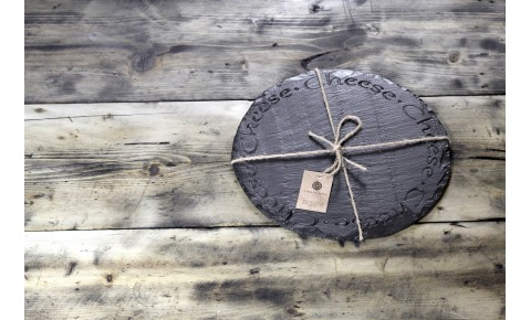 "Welsh round slate cheese board - deep engraved ""Cheese"""