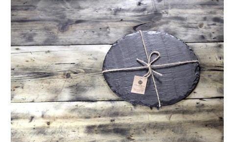 Round plain Welsh slate cheese board