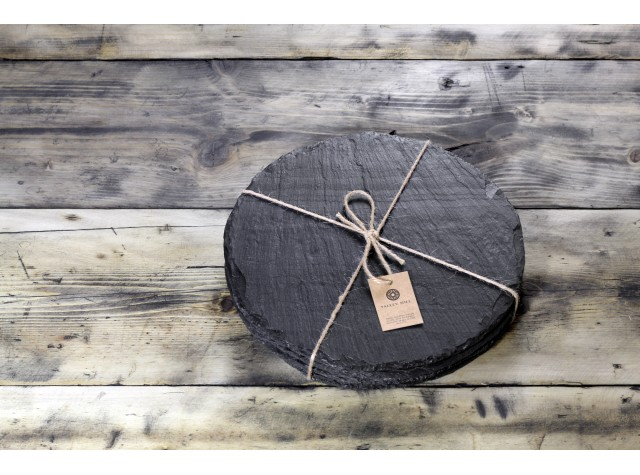 4 x Round Welsh Slate Placemats