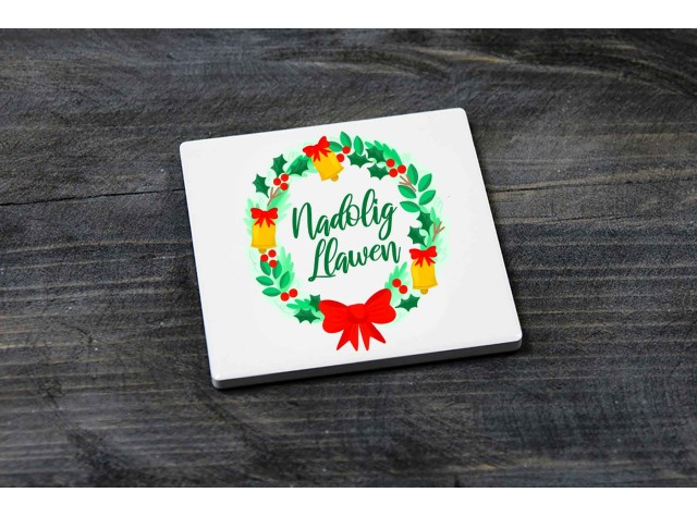 Square Ceramic Coaster Nadolig Llawen Wreath