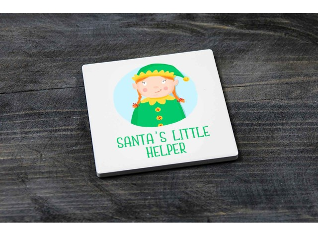 Square Ceramic Coaster Santa's Little Helper Girl Elf