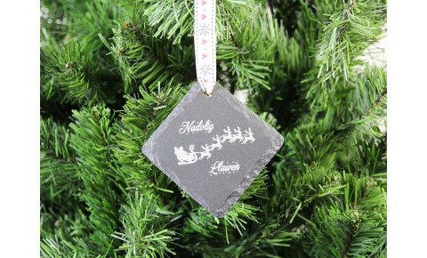Welsh Slate Christmas Decoration - Sleigh