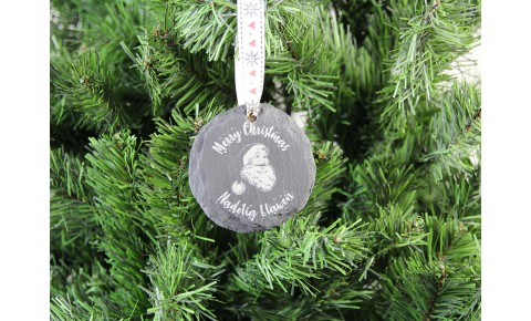 Welsh Slate Christmas Decoration - Santa