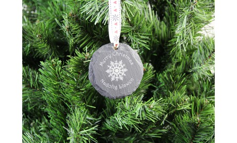 Welsh Slate Christmas Decoration - Snowflake