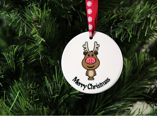 Merry Christmas Ceramic Christmas Decoration - Reindeer