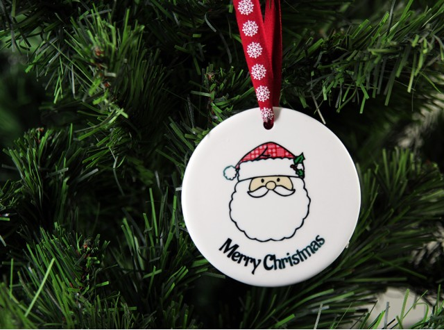 Merry Christmas Ceramic Christmas Decoration - Santa