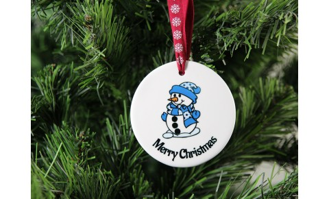Merry Christmas Ceramic Christmas Decoration - Snowman