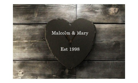 Personalised Welsh Slate Clock - Heart Shaped