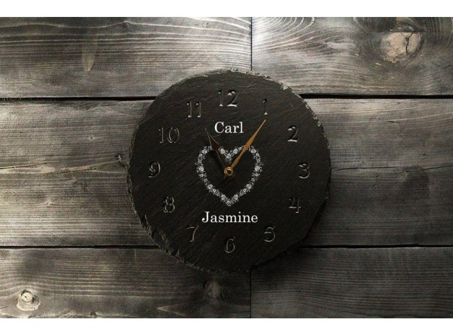 Personalised Welsh Slate Clock - Deep Engraved Numbers