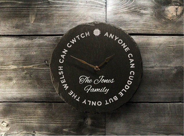 Personalised Welsh Slate Clock - Cuddle
