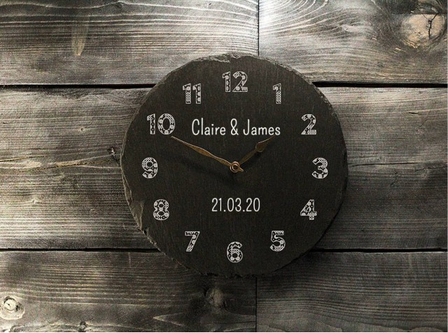 Personalised Welsh Slate Clock - Tapestry Numbers