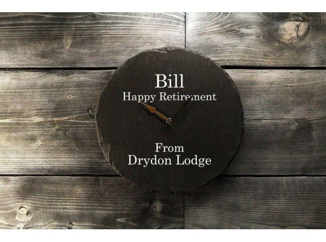 Personalised Round Welsh Slate Clock - Plain