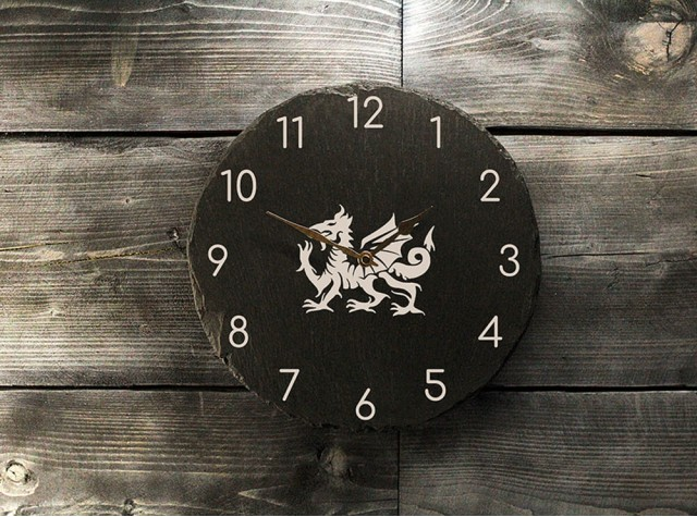Welsh Slate Clock - Dragon with Numbers