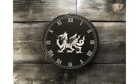 Welsh slate clock - Dragon with Roman Numerals