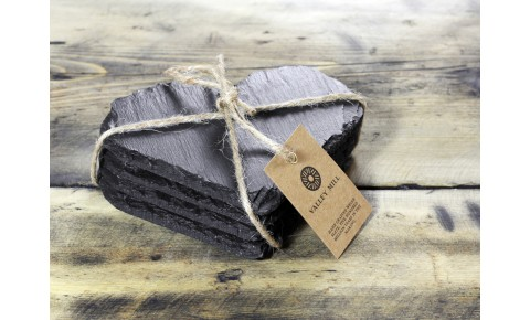 4x Heart Shaped Welsh Slate Coasters