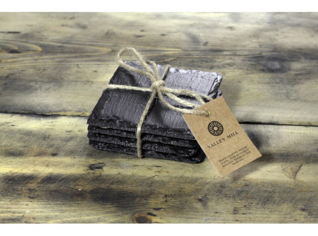 4x Square Welsh Slate Coasters