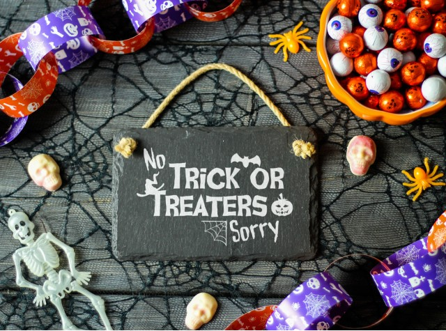 No Trick or Treaters Sorry Hanging Sign | Valley Mill