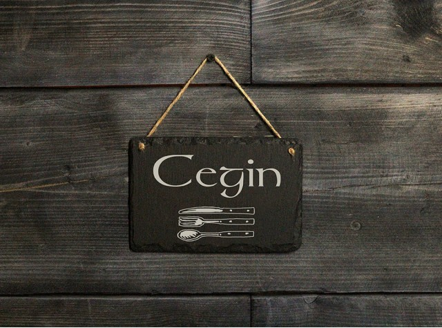 Welsh slate 'Cegin' sign
