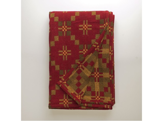 Melin Tregwynt - St David's Cross Chestnut Welsh Blanket
