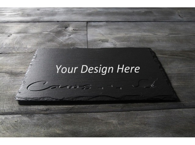 Personalised Welsh slate deep engraved cheese board - Deep Caws Mouse
