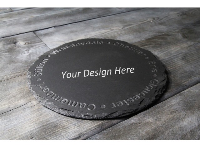 Personalised Welsh slate round Cheese board - Deep Engraved Cheese Names