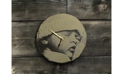 Photograph Engraving Round Clock