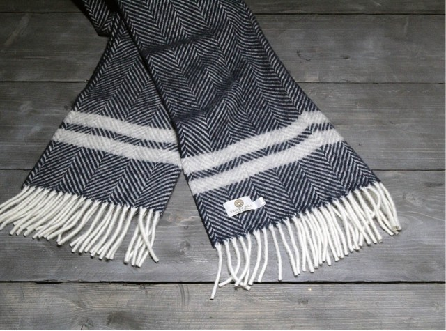 Fishbone 2 Stripe Welsh Woolen Scarf