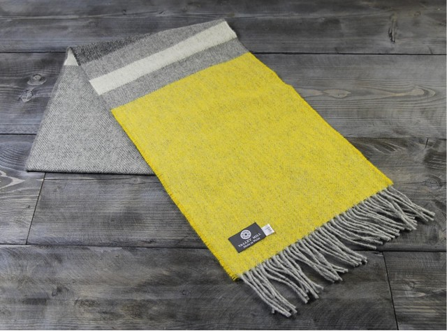 Stripe Canary Welsh Woolen Scarf
